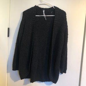 kensie Soft Open Front Cardigan - Black